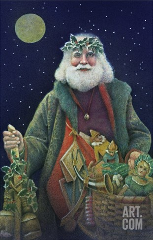 Father Christmas Stretched Canvas Print