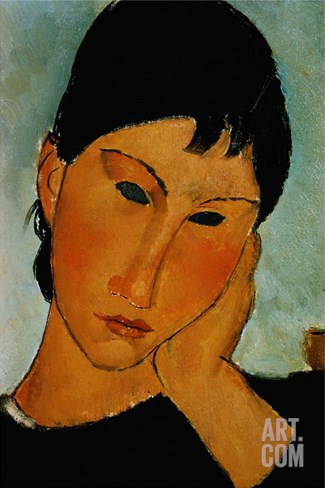 Detail of Female Head from Elvira Resting at a Table Stretched Canvas Print