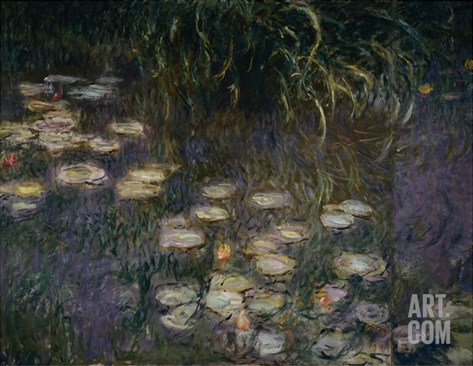Detail of Waterlilies from The Morning Stretched Canvas Print