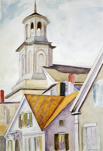 Church Steeple and Rooftops Stretched Canvas Print