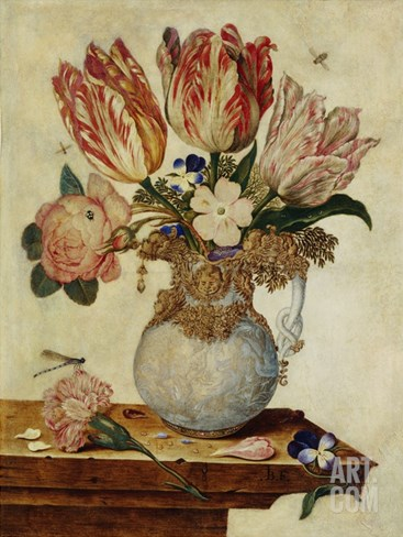 Floral Still Life by Jan Baptist van Fornenburgh Stretched Canvas Print