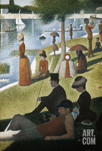 Detail from Sunday Afternoon on the Island of La Grande Jatte Stretched Canvas Print
