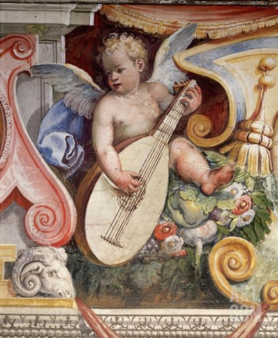 Angel Playing a Lute from the Salon of the Muses in the Villa Medici in Florence Stretched Canvas Print