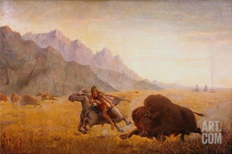 The Buffalo Hunter Stretched Canvas Print