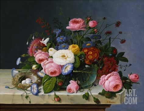 Still Life: Flowers on a Marble-Topped Table Stretched Canvas Print