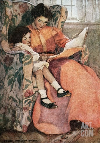 Book Illustration of Mother and Daughter Reading by Jessie Willcox Smith Stretched Canvas Print