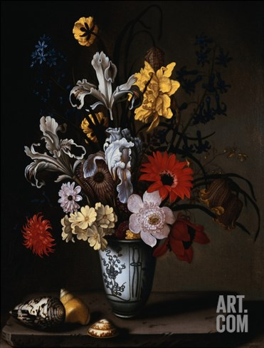 Irises, a Carnation, and other Flowers in a Blue and White Vase with Seashells on a Stone Ledge Stretched Canvas Print