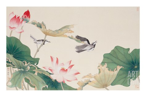 Birds by Lotus Pond Stretched Canvas Print