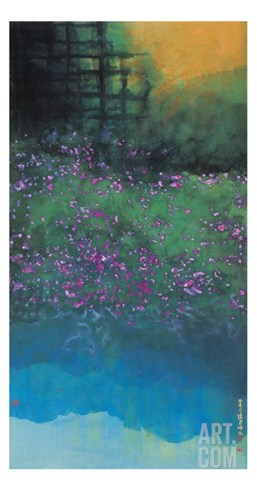 Purple Bellflowers Stretched Canvas Print