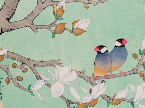 Twin Birds in the Branches Stretched Canvas Print
