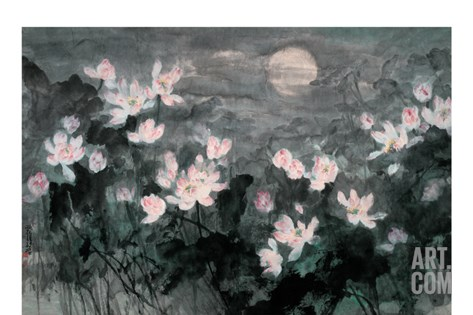 Moon and Lotus Pond Stretched Canvas Print