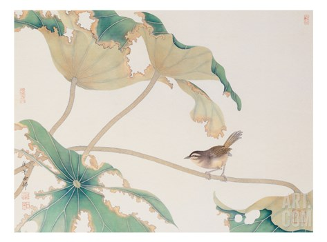 Bird on Lotus Leave Stretched Canvas Print
