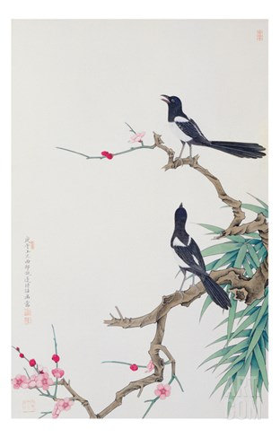 Happy Birds in Plum Tree Stretched Canvas Print