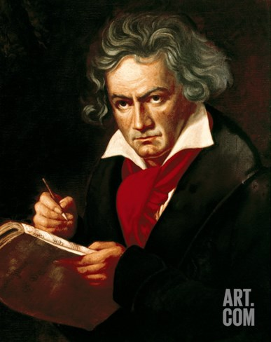 "Ludwig Van Beethoven (1770-1827) Composing His ""Missa Solemnis"" Stretched Canvas Print"