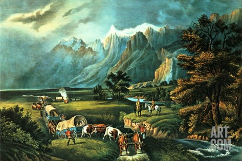 The Rocky Mountains: Emigrants Crossing the Plains, 1866 Stretched Canvas Print