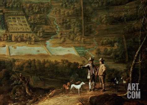 Landscape with Sportsmen Stretched Canvas Print