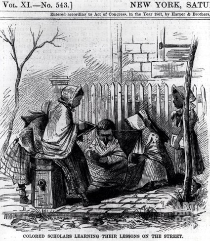 "Colored Scholars Learning Their Lessons on the Street, from ""Harper's Weekly,"" 1867 Stretched Canvas Print"