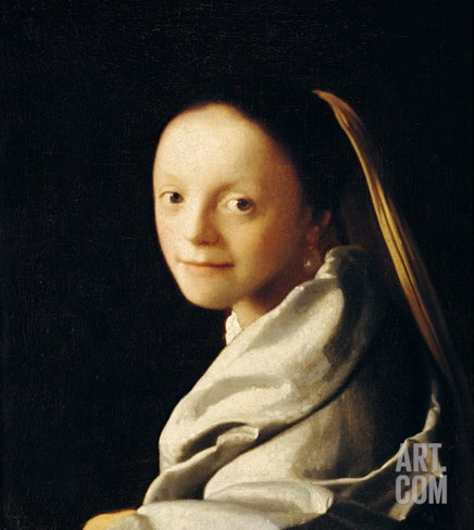 Portrait of a Young Woman, circa 1663-65 Stretched Canvas Print