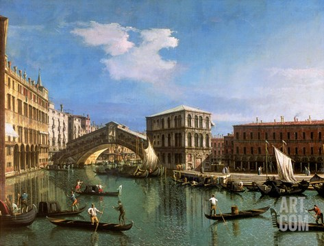 The Rialto Bridge, Venice Stretched Canvas Print