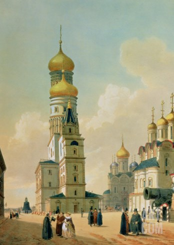 Ivan the Great Bell Tower in the Moscow Kremlin, Printed by Lemercier, Paris, 1840s Stretched Canvas Print