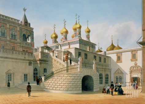 View of the Boyar Palace in the Moscow Kremlin, Printed by Lemercier, Paris, 1840s Stretched Canvas Print