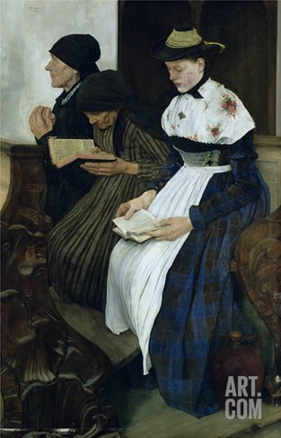 Three Women in Church, 1882 (Oil on Panel) Stretched Canvas Print