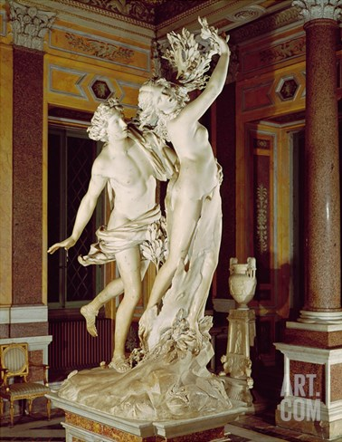 Apollo and Daphne, 1622-25 (Marble) Stretched Canvas Print