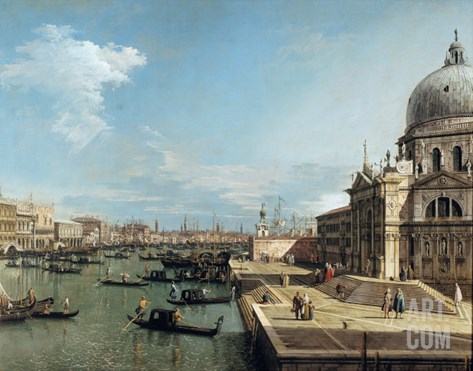 The Entrance to the Grand Canal, Venice Stretched Canvas Print