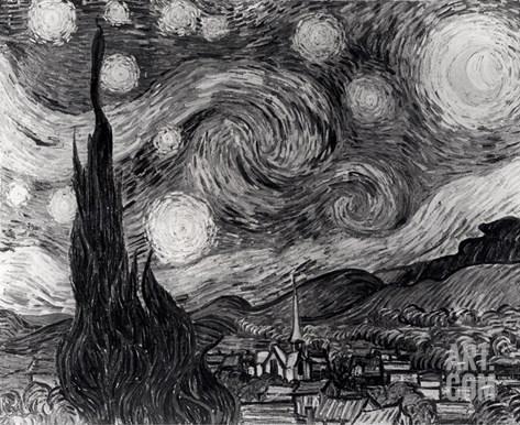 The Starry Night, June 1889 (Black & White) Stretched Canvas Print