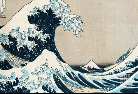"The Great Wave of Kanagawa, from the Series ""36 Views of Mt. Fuji"" (""Fugaku Sanjuokkei"") Stretched Canvas Print"