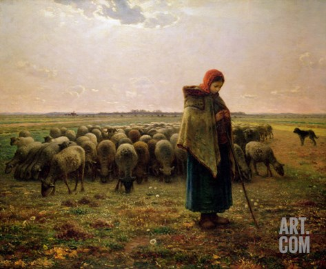 Shepherdess with Her Flock, 1863 Stretched Canvas Print