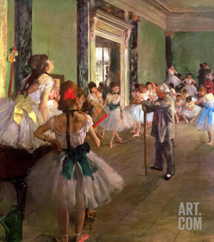 The Dancing Class, circa 1873-76 Stretched Canvas Print