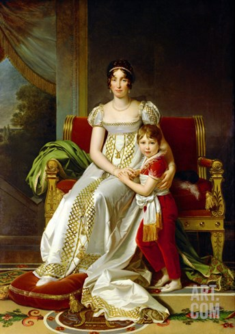 Hortense De Beauharnais (1783-1837) Queen of Holland and Her Son, Napoleon Charles Bonaparte Stretched Canvas Print