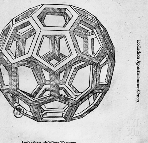 "Icosahedron, from ""De Divina Proportione"" by Luca Pacioli, Published 1509, Venice Stretched Canvas Print"