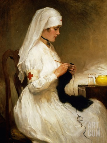 Portrait of a Nurse from the Red Cross Stretched Canvas Print