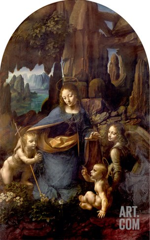The Virgin of the Rocks (With the Infant St. John Adoring the Infant Christ) circa 1508 Stretched Canvas Print