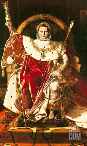 Napoleon I (1769-1821) on the Imperial Throne, 1806 Stretched Canvas Print