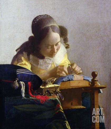 The Lacemaker, 1669-70 Stretched Canvas Print