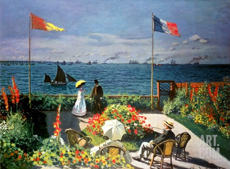 The Terrace at Sainte-Adresse, 1867 Stretched Canvas Print