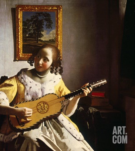 The Guitar Player, circa 1672 Stretched Canvas Print