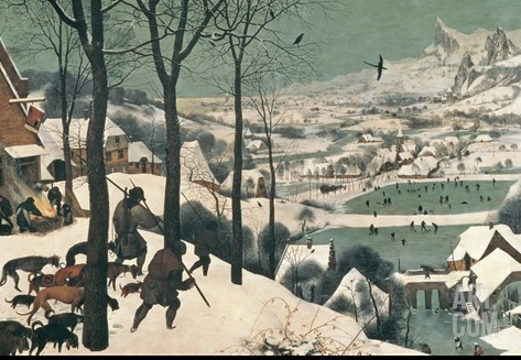 Hunters in the Snow, February, 1565 Stretched Canvas Print