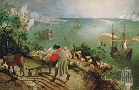Landscape with the Fall of Icarus, circa 1555 Stretched Canvas Print