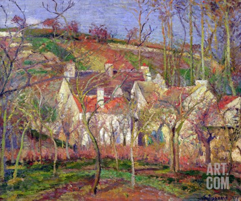 The Red Roofs, or Corner of a Village, Winter, 1877 Stretched Canvas Print