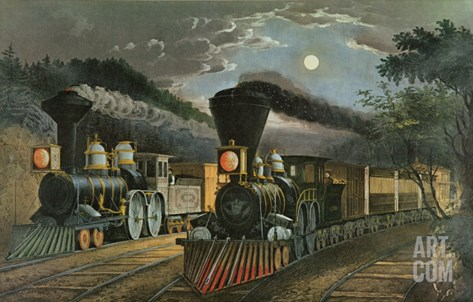 The Lightning Express Trains, 1863 Stretched Canvas Print
