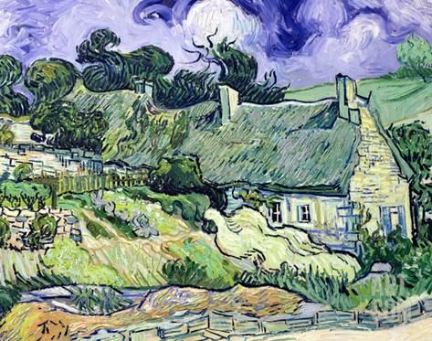 Thatched Cottages at Cordeville, Auvers-Sur-Oise, c.1890 Stretched Canvas Print