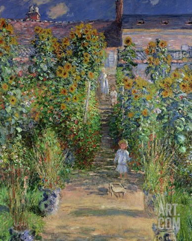 The Artist's Garden at Vetheuil, 1880 Stretched Canvas Print
