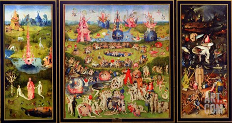 The Garden of Earthly Delights, circa 1500 Stretched Canvas Print