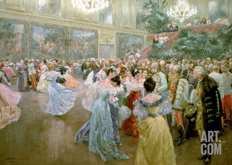 Court Ball at the Hofburg, 1900 Stretched Canvas Print