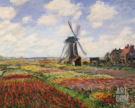 Tulip Fields with the Rijnsburg Windmill, 1886 Stretched Canvas Print