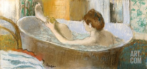 Woman in Her Bath, Sponging Her Leg, circa 1883 Stretched Canvas Print